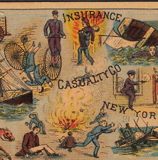 Hotel Fire 1800s Ship Wreck Bike Train Accident Fidelity Casualty Insurance Card