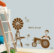 Removable PVC Kids Wall Sticker Happy Farm Agricultural Tractor Kids Wall Decor