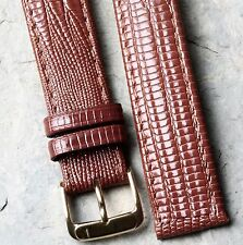 Long cognac color Teju Lizard pattern leather 18mm vintage watch strap 1960s/70s