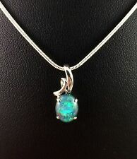 Genuine Lightning Ridge Triplet Opal Necklace Pendant White Gold Plated w Cert