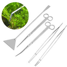 5pcs Aquarium Live Plant Fish Tank Tool Scissors Tweezers Gravel Leveler Kit Set
