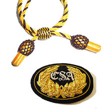 American Civil War Confederate CSA Badge With Gold & Black Slouch Hat Cord