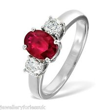 18Carat White Gold Oval Natural Ruby & Diamond Trilogy 3-Stone Ring Hallmarked