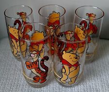Vintage Disney ~ Set of 5 ~ Winnie the Pooh and Tigger ~ Large DRINKING GLASSES