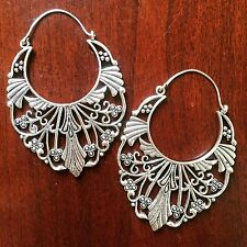 Tribal Deco Floral Boho Festival Hook Earrings in Silver Plated Brass