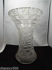 Vintage Cut Glass Crystal Large Floral Vase