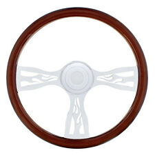 """18"""" Chrome """"Flame"""" Steering Wheel for Peterbilt 1998+ and Kenworth 2001+"""