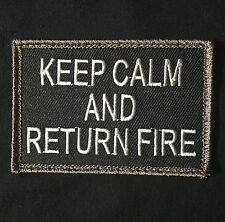 KEEP CALM AND RETURN FIRE COMBAT USA ARMY SWAT MORALE PATCH VELCRO® BRAND