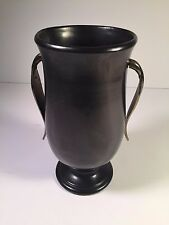VINTAGE RETRO RED WING POTTERY 1950's BROWN VASE M1599 CHROME LEAF HANDLE