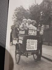 WALLS ICE CREAM MAN & CART AMAZING PRIVATE PHOTO KIDS LEAFY LONDON STREET 1920S