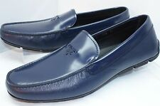 NEW PRADA Men's Shoes Blue Loafers Size 9.5 Calzature Uomo Drivers Leather NIB