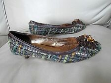 Coach Tweed Merry jane Kitten Heel slip on brown/green/amber Pumps shoes- 7 B