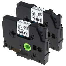 2pk 6mm Black on White TZ-211 Compatible Brother Label tape TZe-211 for P-Touch