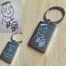 Engraved Rectangle Keyring  Hand/ Foot Print / Kids Drawing Unique Gift...