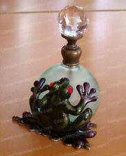 3869 - Bejeweled FROG PERFUME BOTTLE (Baked Enamel, Glass Stopper)