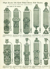 Catalog Page Ad Men's Pocket Watch Fancy Gold Filled Safety Fob Chains 1907