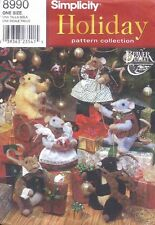 Simplicity 8990 Christmas Mice and Clothes Sewing Pattern UNCUT Ornaments Sitter