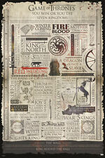 GAME OF THRONES -INFOGRAPHIC 24X36 POSTER TV SHOW SERIES HBO FUN COOL AMAZING!!!