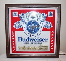 Vintage Budweiser Deluxe Label Sign Lighted Clydesdale Clock Fully Functional