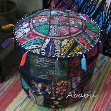 New Indian Black Pouf Ottoman Cover pouffe pouffes Foot Stool Moroccan Ottoman A