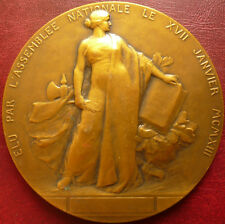 Art Nouveau dated 1913 Large French gilded Bronze medal by Leon DESCHAMPS