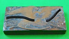 Antique Wood Brick Copper Print Stamp Civil War Period US Eagle Signed L Johnson