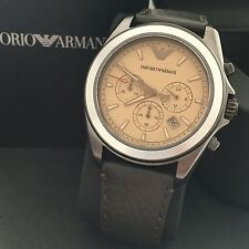Emporio Armani Men's Sigma Brown Leather Gunmetal Chronograph Watch AR6070 NWT