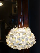 """White Lilies Fabric Flower Hanging """"Kissing Ball"""" Pendant Light, New, In Box"""