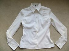 GUCCI White Gathered Fitted Shirt Frida Giannini Era