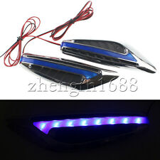 2xBlue LED Car Auto fender Side Indicators Turn Signal Panels Light Shark Style
