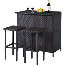 GOPLUS 3PCS Rattan Wicker Bar Set Patio Outdoor Table & 2 Stools Furniture