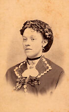 Real Photo-Cabinet Card-Woman w/ Tight Curls & Necklace-Covington, IN- c.1885