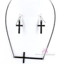 Womens Dressy Sideways Black Christian Cross Pave Crystal Necklace Earrings Set