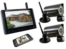 2 Camera Wireless Home CCTV Security System 720p HD Portable Monitor Recorder