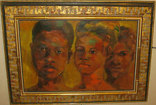 Vintage ERIC SMITH 'Heads in Red' JAMAICA Children PORTRAIT Painting - Listed