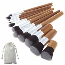 Professional 11pcs Wood Cosmetic Make Up Brushes Set Face Powder Blusher Contour