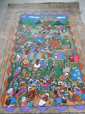Mexican Folk Art Guerrero Amate Bark Painting Village Dancing Bull Fight Horses