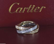 $14,000 Cartier Trinity 18K Rose Yellow White Gold Diamond Ring Rolling Band 5