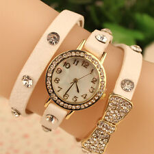 New Women Bowknot Crystal Quartz Watch Imitation Leather Stainless Steel Watch