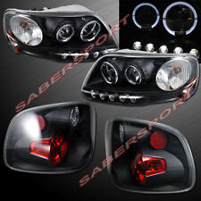 97-00 FORD F-150 FLARESIDE HALO PROJECTOR HEADLIGHTS w/ LED + BLACK TAIL LIGHTS