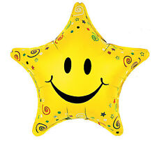 "Star Shaped Smiley Face Small Swirls and Star Multi-Color 18"" Balloons 3 Pack"