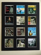 "BILLY FURY DISCOGRAPHY 14"" BY 11"" LP COVERS PICTURE MOUNTED READY TO FRAME"