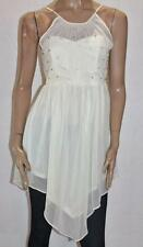 VALLEYGIRL Designer Cream Chiffon Diamond Beaded Evening Dress Size S BNWT #sV72