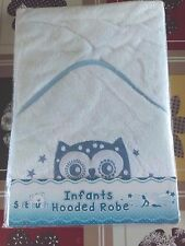 Baby boys infant white Soft Touch cotton OWL  hooded towel Robe new