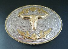 Two Toned Gold Silver Longhorn Steer Bull Western Belt Buckle Boucle de Ceinture