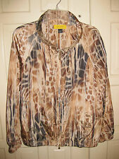 St. John Sz M Yellow Label Animal Print Jacket w/ Gold tone Zipper pulls Pockets