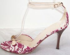 GUCCI Purple White Floral Jacquard Bamboo Sandals Shoes 40 10