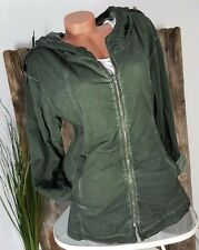 NEU �� ITALY �� VINTAGE SWEAT JACKET KAPUZEN JACKE ZIPP �� WASHED GREEN M 36-38
