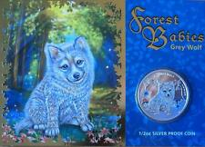 2013 AUSTRALIAN FOREST BABIES 1/2 OZ (99.9) SILVER PROOF COIN - GREY WOLF