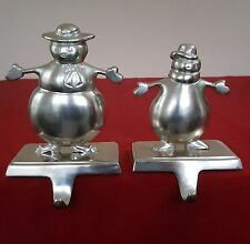 2 STOCKING HOLDER SNOWMAN MOTHER & SON SILVER TONE ALUMINUM ? MOM BOY XMAS INDIA